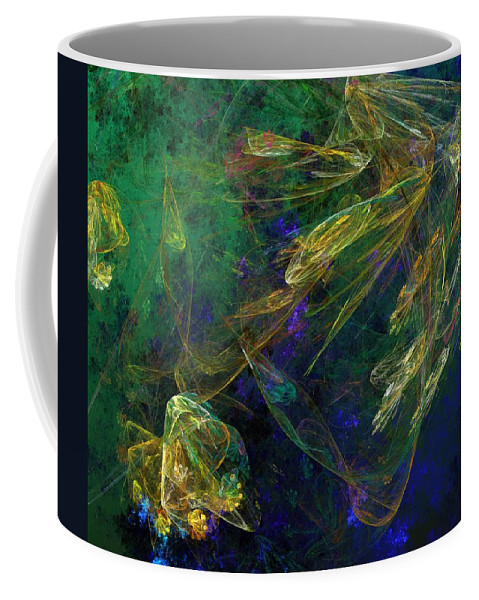 Fantasy Coffee Mug featuring the digital art Jelly Fish Diving The Reef Series 1 by David Lane