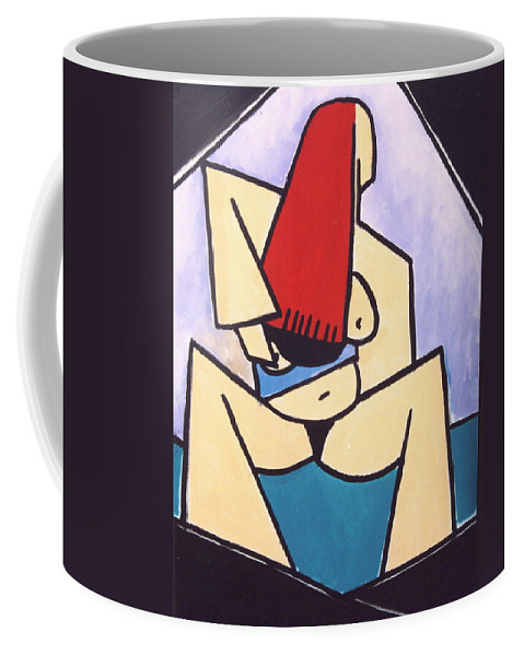 Oil Coffee Mug featuring the painting jen by Thomas Valentine