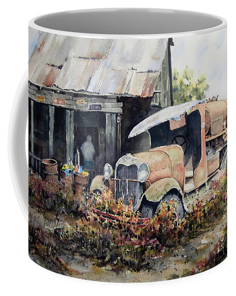 Truck Coffee Mug featuring the painting Jeromes Tank Truck by Sam Sidders