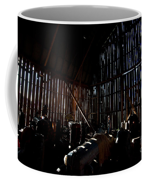 Barn Coffee Mug featuring the photograph Jesse's In The Barn by Steven Dunn