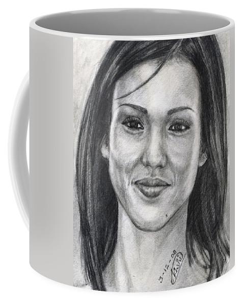 Jessica Albba Coffee Mug featuring the drawing Jessica Alba Portrait by Alban Dizdari