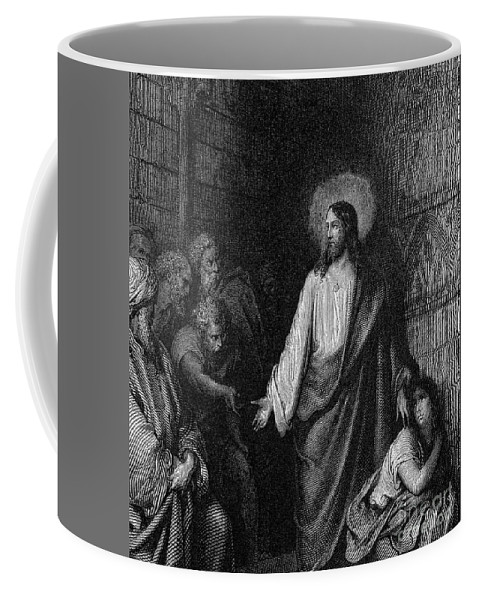 Gustave Dore Coffee Mug featuring the drawing Jesus And The Woman Taken In Adultery by Gustave Dore