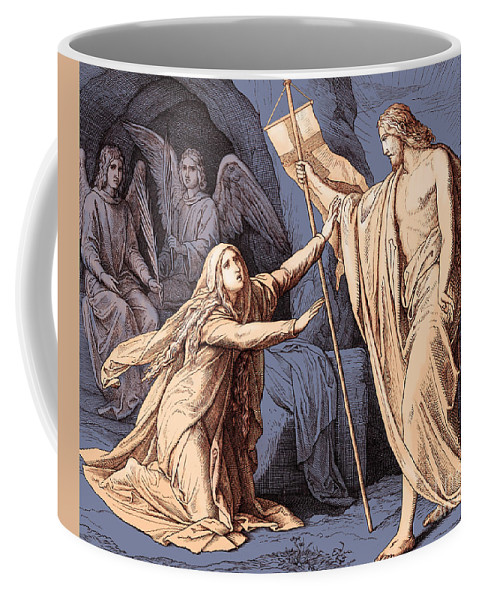 Mary Magdalene Coffee Mug featuring the drawing Jesus Appears To Mary Magdalene, Gospel Of John by Julius Schnorr von Carolsfeld