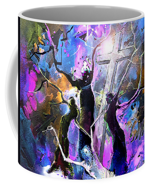 Fantasy Coffee Mug featuring the painting Jesus From Cross by Miki De Goodaboom