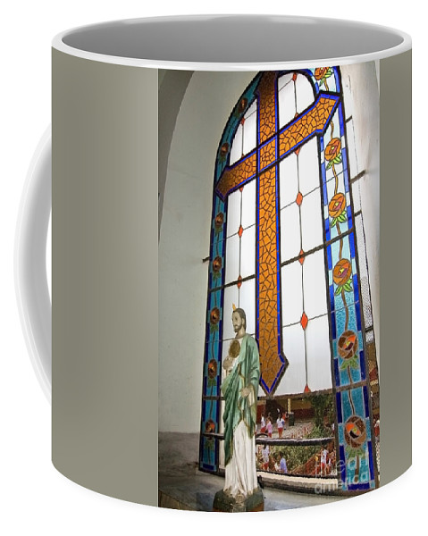 Jesus Coffee Mug featuring the photograph Jesus In The Church Window And School Girls In The Background by Sven Brogren