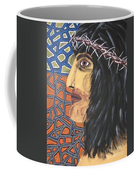 Portrait Coffee Mug featuring the painting Jesus by Jeffrey Koss