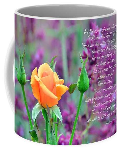 Scripture; Crucifixion Coffee Mug featuring the photograph Jesus Remember Me by Debby Pueschel