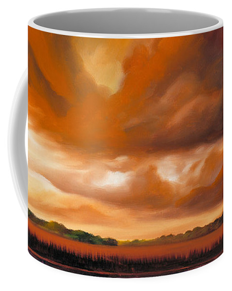 Clouds Coffee Mug featuring the painting Jetties On The Shore by James Christopher Hill
