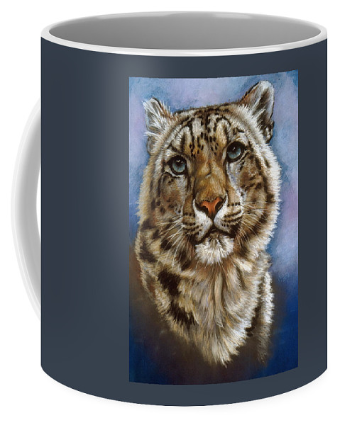 Snow Leopard Coffee Mug featuring the pastel Jewel by Barbara Keith