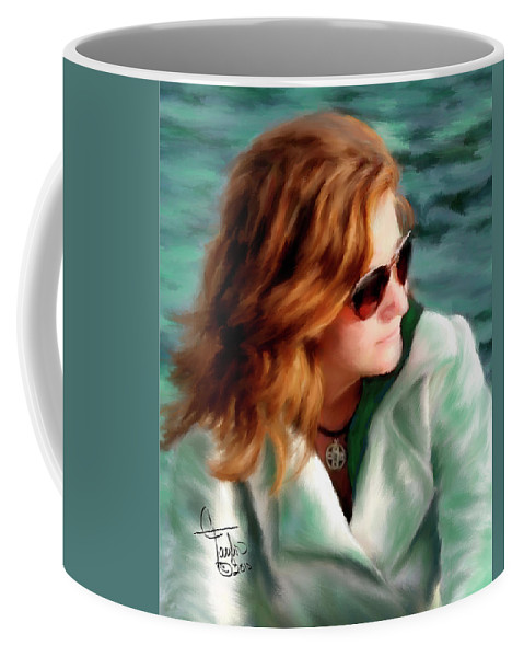 Red Head Coffee Mug featuring the painting Jewel Of Contemplation by Colleen Taylor