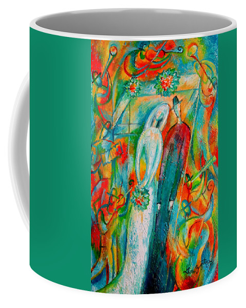 Bride Ceremony Color Groom Illustration Jewish Matrimony Medium Group Of People Pole Reception Religious Setup Tent Union Unrecognizable Wedding Whitemusicians Chuppa Decorative Painting Abstract Art Coffee Mug featuring the painting Jewish Wedding by Leon Zernitsky