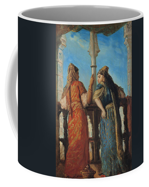 f8bc68676863 Jewish Coffee Mug featuring the painting Jewish Women At The Balcony In  Algiers by Theodore Chasseriau