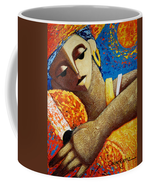 Puerto Rico Coffee Mug featuring the painting Jibara y Sol by Oscar Ortiz