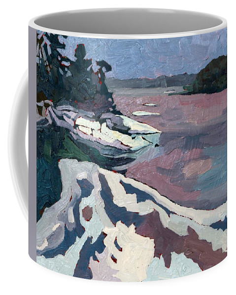 Jim Day Coffee Mug featuring the painting Jim Day Winter by Phil Chadwick