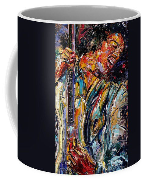 Jimi Hendrix Painting Coffee Mug featuring the painting Jimi Hendrix by Debra Hurd