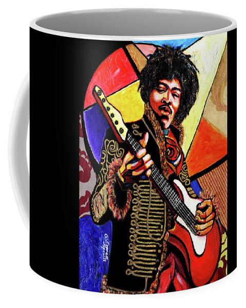 Everett Spruill Coffee Mug featuring the mixed media Jimi Hendrix by Everett Spruill