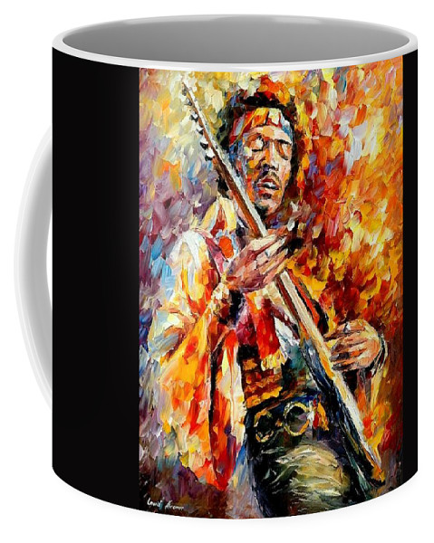 Music Coffee Mug featuring the painting Jimi Hendrix by Leonid Afremov