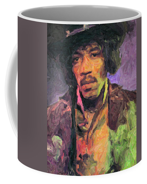 Jimi Hendrix Coffee Mug featuring the painting Jimi Hendrix by Zapista OU