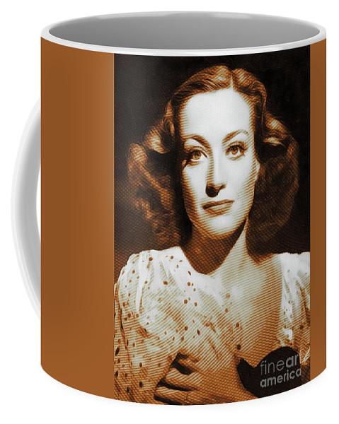 Joan Coffee Mug featuring the digital art Joan Crawford, Hollywood Legends by John Springfield