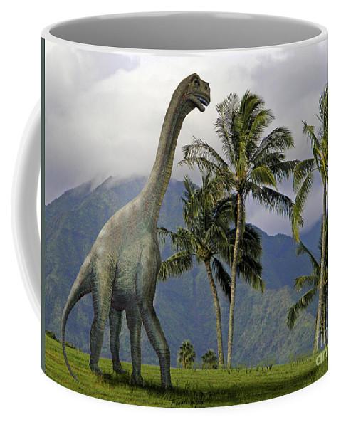 Dinosaur Art Coffee Mug featuring the mixed media Jobaria In Meadow by Frank Wilson