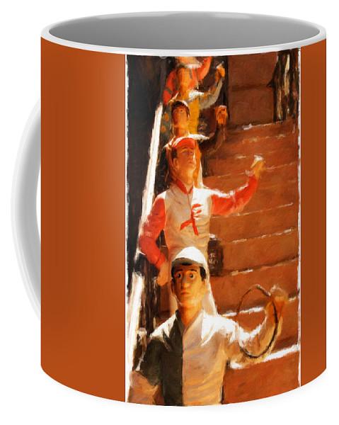 Jockeys Coffee Mug featuring the photograph Jockeys Waiting by Alice Gipson