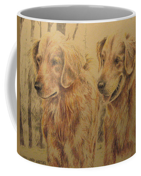 Dogs Coffee Mug featuring the drawing Joe's Dogs by Larry Whitler