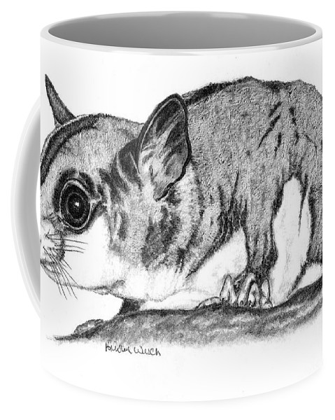 Sugar Glider Coffee Mug featuring the drawing Joey by Kristen Wesch