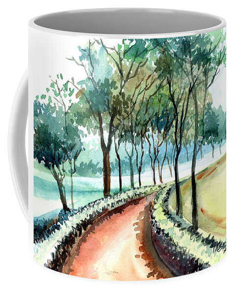 Landscape Coffee Mug featuring the painting Jogging Track by Anil Nene
