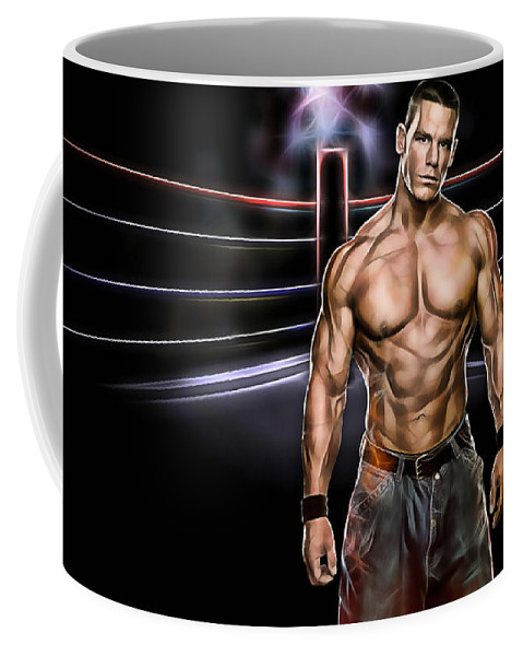 John Cena Coffee Mug featuring the mixed media John Cena Wrestling Collection by Marvin Blaine