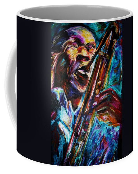 Jazz Coffee Mug featuring the painting John Coltrane by Frances Marino