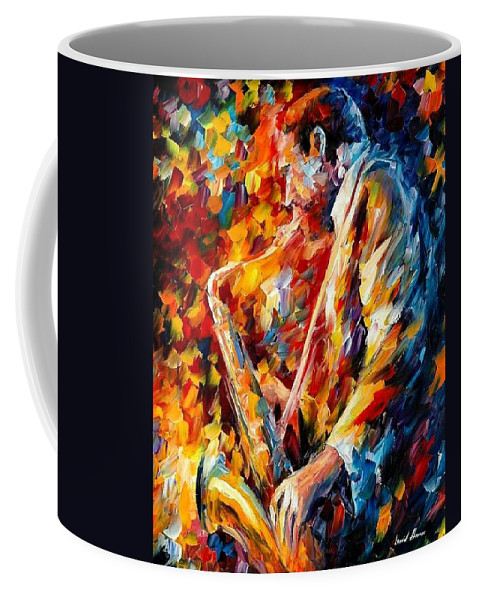 Music Coffee Mug featuring the painting John Coltrane by Leonid Afremov