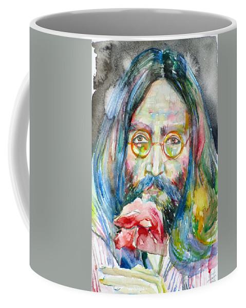 Lennon Coffee Mug featuring the painting John Lennon - Watercolor Portrait.9 by Fabrizio Cassetta