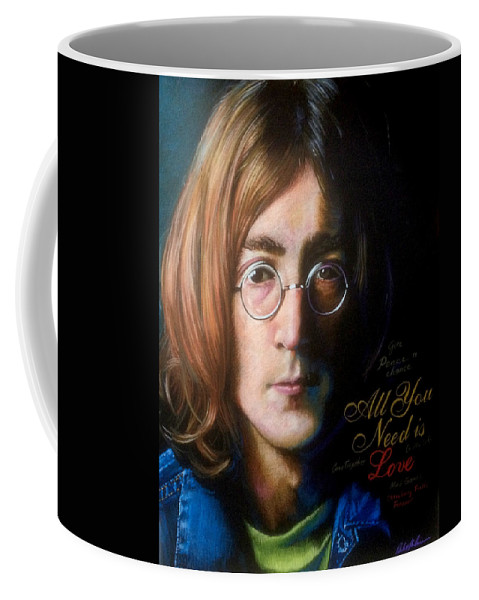 John Lennon Word Songwriter Partnership Beatles Working Class Hero Rock Star Imagine Peace Acid Yoko Book Cover Illustration Color Pencil Stylized Graphic Pastel Realism Charcoal Whimsical Figurative Novels Greeting Cards Music Editorial Humor People Book Covers Icon Portrait Fantasy Posters Celebrities Product Leisure Vintage Retro Web Lifestyle Dakota Nyc New York Mbe Guitar Popular Music Quarrymen Liverpool Give Peace A Chance All You Need Is Love Plastic Ono Band Sean Double Fantasy Coffee Mug featuring the drawing John Lennon - Wordsmith by Robert Korhonen