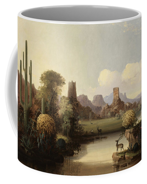 Chain Of Spires Along The Gila River By John Mix Stanley Coffee Mug featuring the digital art John Mix Stanley by Mark Carlson