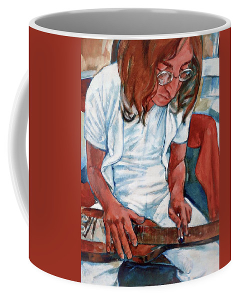 John Lennon Portrait Beatles Music Musician Rock Coffee Mug featuring the painting John by Scott Waters