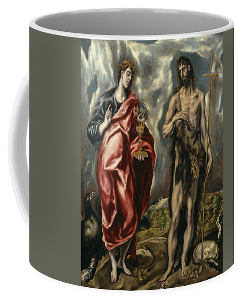Cinquecento Coffee Mug featuring the painting John The Baptist And Saint John The Evangelist by El Greco