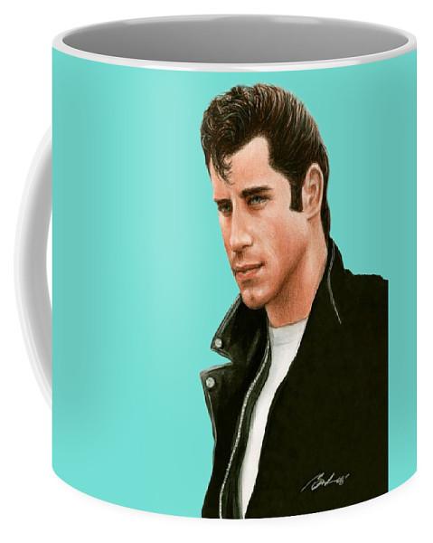 John Travolta Coffee Mug featuring the painting John Travolta Grease by Bruce Lennon