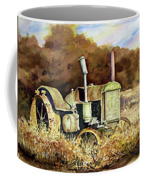 Tractor Coffee Mug featuring the painting Johnny Popper by Sam Sidders