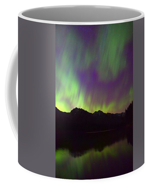 Johnson Lake Coffee Mug featuring the photograph Johnson Lake Aurora by James Anderson