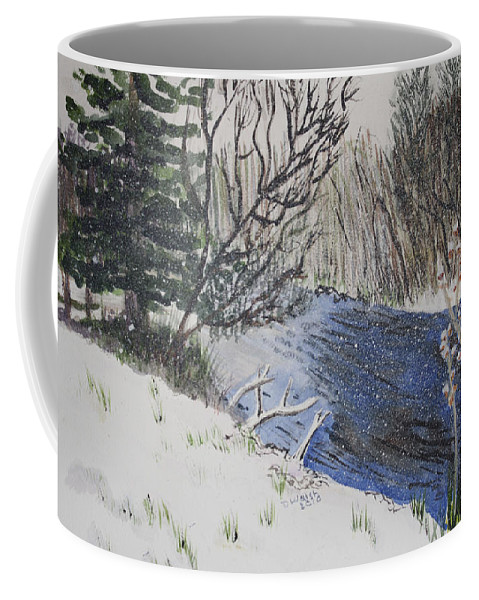 Landscapes Coffee Mug featuring the painting Johnson Vermont In Spring Snow Storm by Donna Walsh