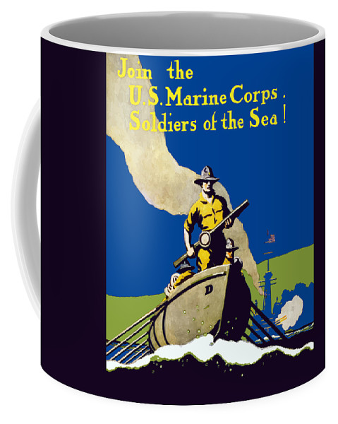 Marines Coffee Mug featuring the painting Join The Us Marines Corps by War Is Hell Store