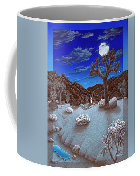 Landscape Coffee Mug featuring the painting Joshua Tree At Night by Snake Jagger