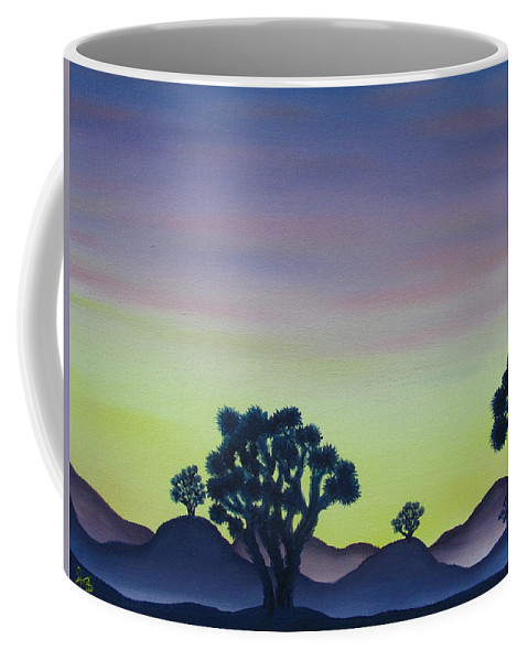 Joshua Tree Desert Landscape Canvas Prints California Desert Sunset Canvas Prints Desert Oil Painting Prints Coffee Mug featuring the painting Joshua Tree Sunset by Joshua Bales
