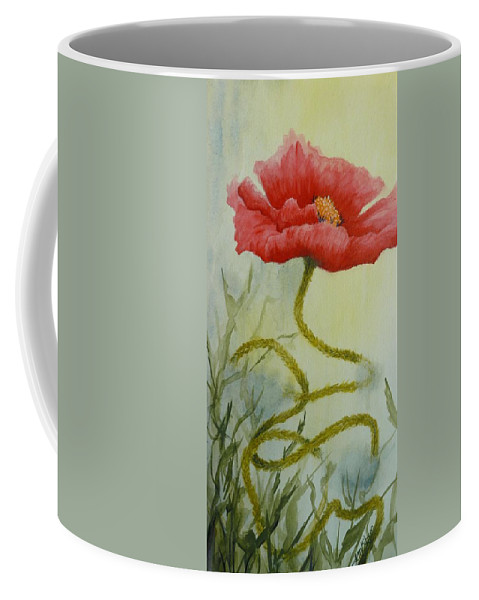 Red Poppy Coffee Mug featuring the painting Journey by Lisa Gibson