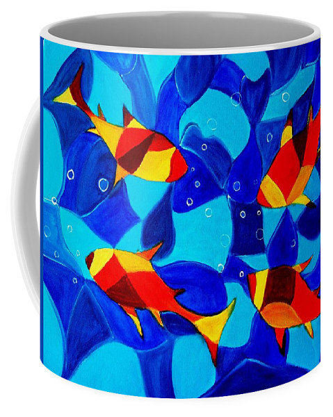 Abstract.acrylic.fish.bubbles.art.painting.modern.contemporary.popblue Red Bubbles Yellow Landscape Coffee Mug featuring the painting Joy Fish Abstract by Manjiri Kanvinde