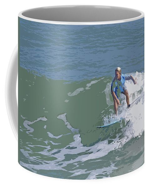 Surf Coffee Mug featuring the painting Joy Of Surfing - Three by Allan Hughes