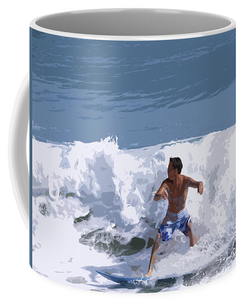 Surf Coffee Mug featuring the painting Joy Of Surfing - Two by Allan Hughes