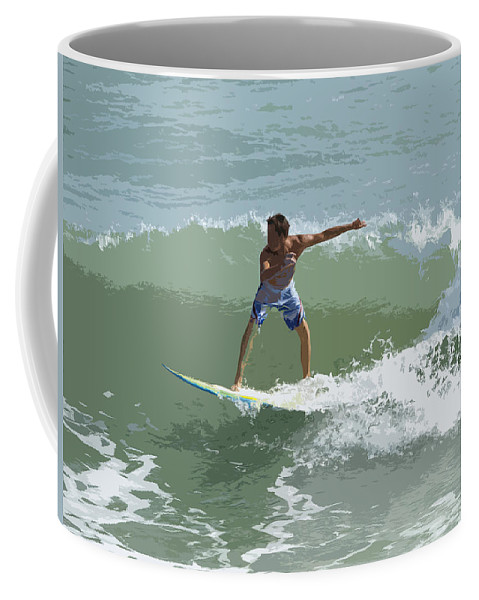 Surf Coffee Mug featuring the painting Joy Of Surfing One by Allan Hughes