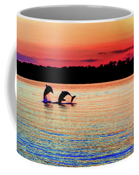 Dolphins Coffee Mug featuring the photograph Joy Of The Dance by Karen Wiles
