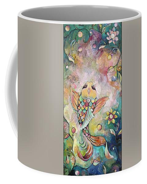 Orange Coffee Mug featuring the painting Joyful Koi I by Shadia Derbyshire